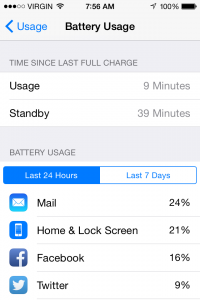 Battery usage screen on iOS