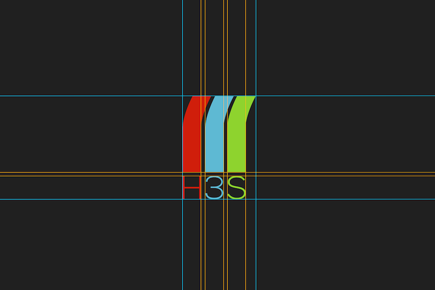 The H3S logo I designed with a grid showing how everything is aligned.