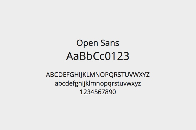 A sample of the font I chose for the site, Open Sans.