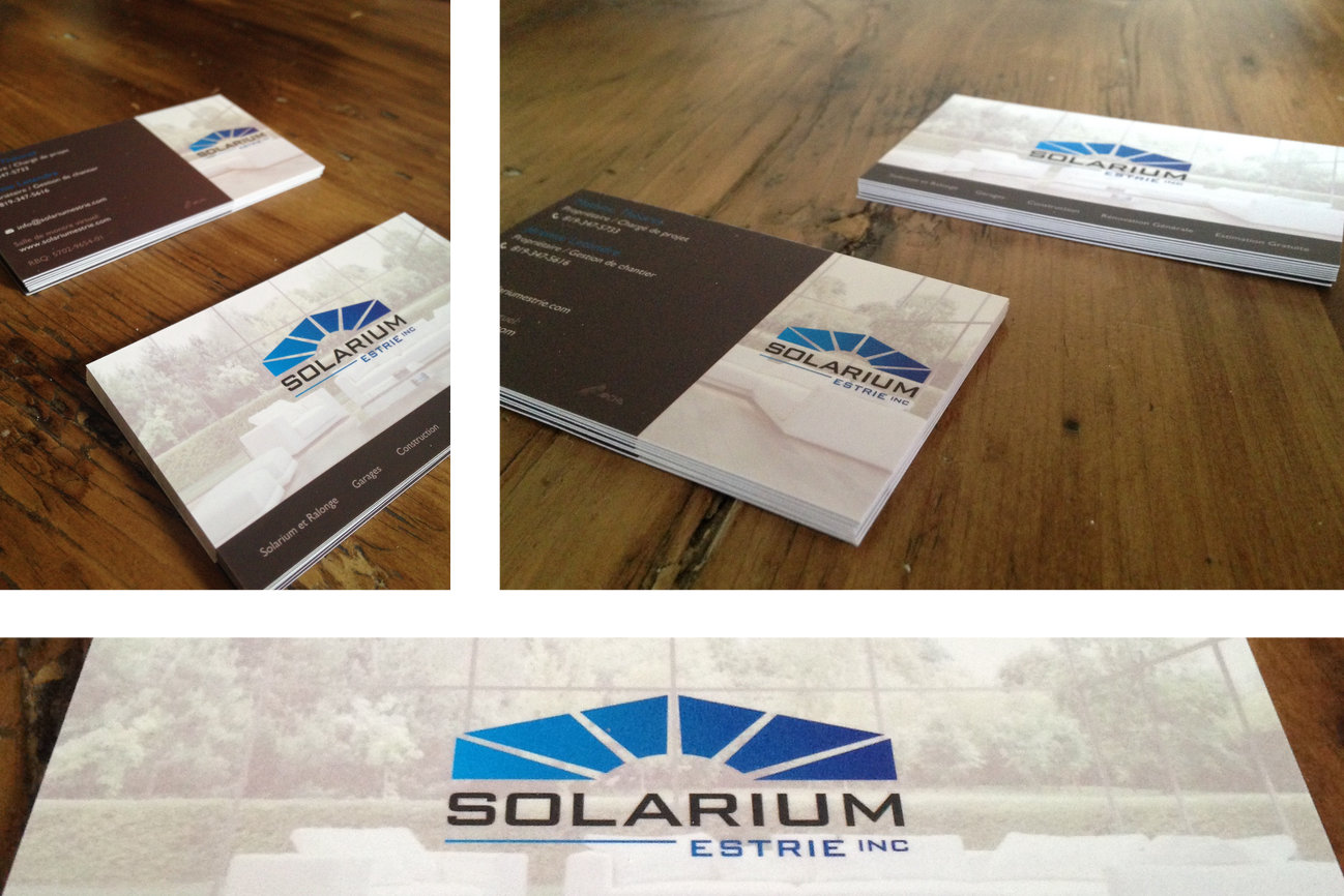 Business Cards I designed for Solarium Estrie.